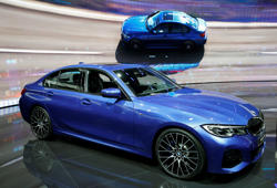 PARIS, FRANCE - OCTOBER 02:  A BMW 3 Series Sedan model automobile is on display during the first press day of the Paris Motor Show at the Parc des Expositions at the Porte de Versailles on October 2, 2018 in Paris. The Paris Motor Show will present the latest models from the world's leading car manufacturers at the Paris Expo Exhibition Center from October 4 to 14, 2018.  (Photo by Chesnot/Getty Images)