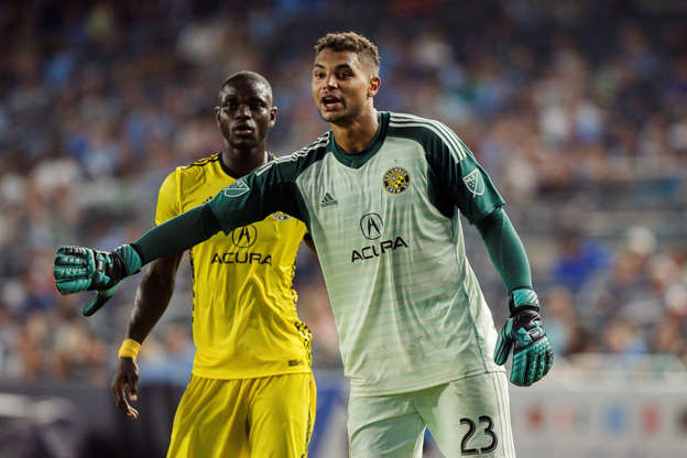 bea637a88a9 Columbus Crew s goalkeeper Zack Steffen (23) reacts during the second half  of an MLS