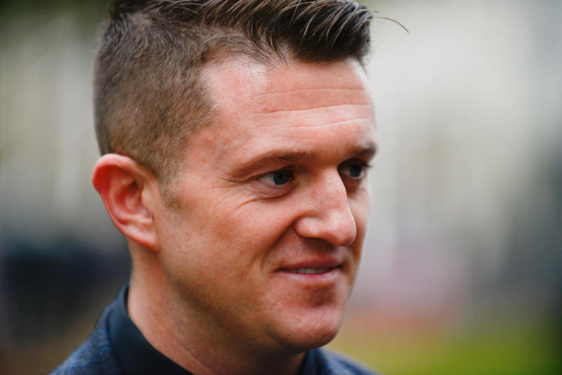 Far-right figurehead Tommy Robinson, real name Stephen Yaxley-Lennon is pictured outside Westminster Abbey as he watches the remembrance crosses, in memory of the victims of WWI, London on November 6, 2018. (Photo by Alberto Pezzali/NurPhoto via Getty Images)