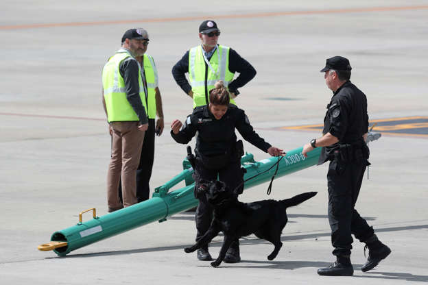 Diapositiva 52 de 55: A police officer plays with her sniffer dog as they wait for the arrival of leaders that will attend the G20 Summit at the Ministro Pistarini airport in Buenos Aires, Argentina, Thursday, Nov. 29, 2018. Leaders from the Group of 20 industrialized nations will meet in Buenos Aires for two-day starting Friday.