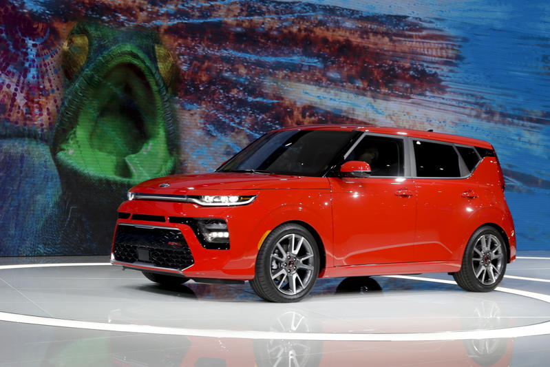 A Kia Soul GT is shown during the Los Angeles Auto Show on Wednesday, Nov. 28, 2018, in Los Angeles. (AP Photo/Chris Carlson)