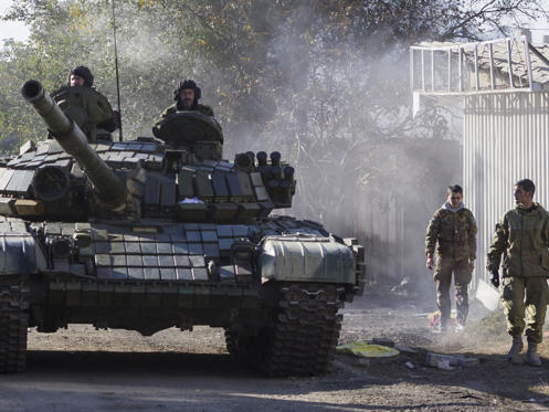 File pic: The Ukrainian president says Russian tanks are massing on the edge of his country.