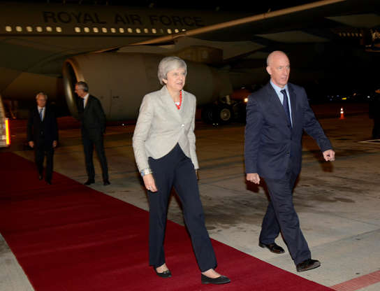 Diapositiva 31 de 55: Britain's Prime Minister Theresa May arrives ahead of the G20 leaders summit in Buenos Aires, Argentina November 29, 2018. Picture taken November 29, 2018.