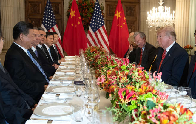 Slide 8 of 36: US President Donald Trump (R) and China's President Xi Jinping (L) along with members of their delegations, hold a dinner meeting at the end of the G20 Leaders' Summit in Buenos Aires, on December 01, 2018. - US President Donald Trump and his Chinese counterpart Xi Jinping had the future of their trade dispute -- and broader rivalry between the world's two top economies -- on the menu at a high-stakes dinner Saturday.