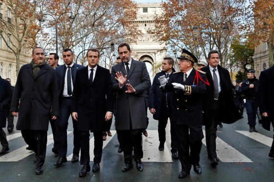 France's President Emmanuel Macron, France's Interior Minister Christophe Castaner, Secretary of State to the Interior Minister Laurent Nunez, and Paris police prefect Michel Delpuech arrive to visit firefighters and riot police officers the day after a demonstration, in Paris, France December 2, 2018.