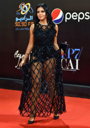 Egyptian actress Rania Youssef poses on the red carpet at the closing ceremony of the 40th edition of the Cairo International Film Festival (CIFF) at the Cairo Opera House in the Egyptian capital on November 29, 2018. (Photo by Omar ZOHEIRY / AFP)        (Photo credit should read OMAR ZOHEIRY/AFP/Getty Images)