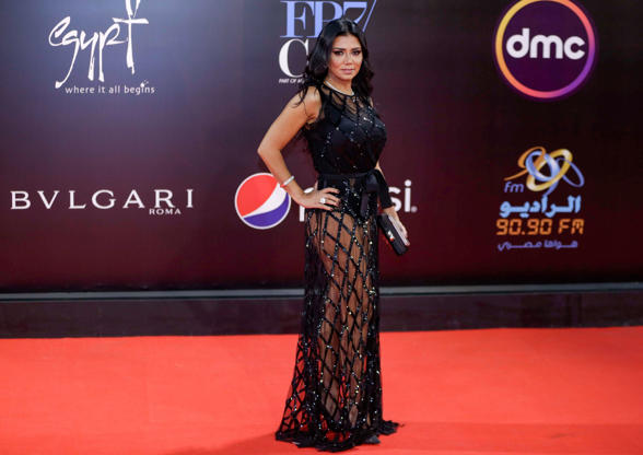 Egyptian actress Rania Youssef poses on the red carpet at the closing ceremony of the 40th edition of the Cairo International Film Festival (CIFF) at the Cairo Opera House in the Egyptian capital on November 29, 2018. (Photo by Suhail SALEH / AFP)        (Photo credit should read SUHAIL SALEH/AFP/Getty Images)