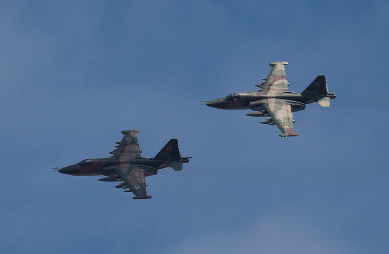 Sukhoi Su-25 jet fighters fly in a file photo