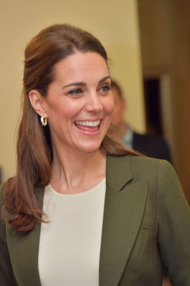 25e9786782 Duchess ditches the signature dresses! Kate steals Meghan s style in a  sharp £670 Smythe blazer and £130 Jigsaw TROUSERS (just like the  wide-legged ones her ...