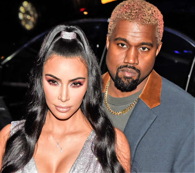 24a5f658f Kim Kardashian is seen wearing a Versace dress with Kanye West outside the  Versace Pre-