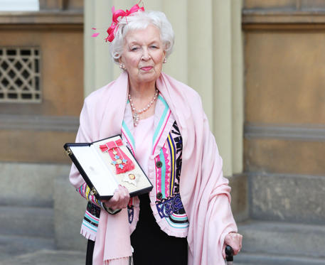 Slide 1 of 121: LONDON, UNITED KINGDOM - NOVEMBER 16: Dame June Whitfield after she was made a dame by the Prince of Wales during an Investiture ceremony at Buckingham Palace on November 16, 2017 in London, England. (Photo by Jonathan Brady/WPA-Pool/Getty Images)