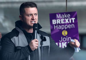 Tommy Robinson addresses the rally after taking part in a 'Brexit Betrayal' march organised by Ukip in central London.
