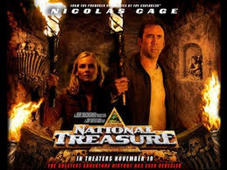 "a person standing in front of a fire: National Treasure is a 2004 American adventure heist film from the Walt Disney Studios under Walt Disney Pictures. It was written by Jim Kouf, Ted Elliott, Terry Rossio, Cormac Wibberley, and Marianne Wibberley, produced by Jerry Bruckheimer, and directed by Jon Turteltaub. It is the first film in the National Treasure franchise and stars Nicolas Cage. Cage plays Benjamin Franklin Gates, a historian and amateur cryptologist searching for a lost treasure of precious metals, jewelry, artwork and other artifacts that was accumulated into a single massive stockpile by looters and warriors over many millennia starting in Ancient Egypt, later rediscovered by warriors who form themselves into the Knights Templar to protect the treasure, eventually hidden by American Freemasons during the American Revolutionary War. A coded map on the back of the Declaration of Independence points to the location of the ""national treasure"", but Gates is not alone in his quest. Whoever can steal the Declaration and decode it first will find the greatest treasure in history."