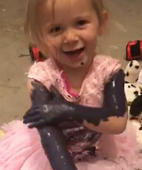 Little girl decides to paint her arms!