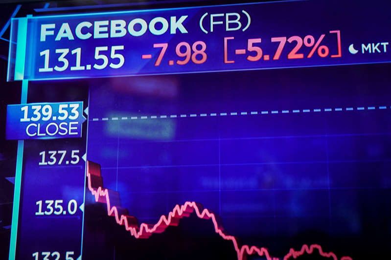 NEW YORK, NEW YORK - NOVEMBER 19: Information about Facebook stock shares is displayed on a monitor as traders and financial professionals work on the floor of the New York Stock Exchange (NYSE) at the closing bell, November 19, 2018 in New York City. Technology stocks continued to plunge on Monday, with Facebook and Apple down again as the Dow Jones Industrial average dropped nearly 400 points on the day. (Photo by Drew Angerer/Getty Images)