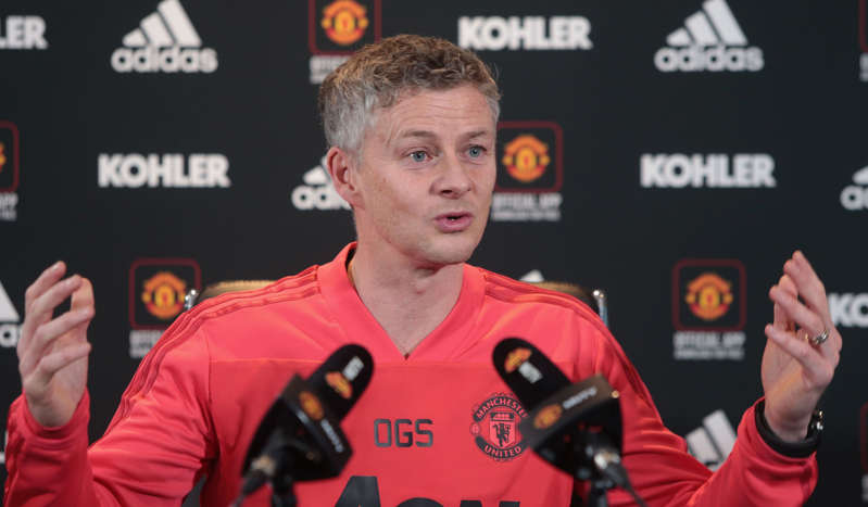 MANCHESTER, ENGLAND - DECEMBER 21:  (EXCLUSIVE COVERAGE) Caretaker Manager Ole Gunnar Solskjaer of Manchester United speaks during a press conference at Aon Training Complex on December 21, 2018 in Manchester, England.  (Photo by Tom Purslow/Man Utd via Getty Images)