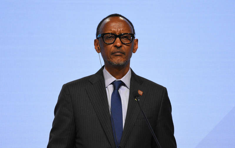 VIENNA, AUSTRIA - DECEMBER 18: Rwandan President Paul Kagame attends a joint press conference within the Africa-Europe High-Level Forum in Vienna, Austria on December 18, 2018.   (Photo by Askin Kiyagan/Anadolu Agency/Getty Images)