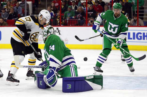Boston Bruins  Ryan Donato (17) pushes the puck past Carolina Hurricanes  goaltender Petr 1b6ad46ab
