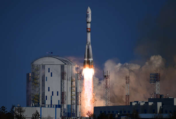 Slide 2 of 76: AMUR REGION, RUSSIA - DECEMBER 27, 2018: A Soyuz-2.1a rocket booster with a Fregat-M upper stage block lifts off from the Vostochny Cosmodrome to deliver Russia's Kanopus-V No 5 and No 6 remote sensing satellites and 26 other foreign spacecraft to orbit. Yuri Smityuk/TASS (Photo by Yuri Smityuk\TASS via Getty Images)