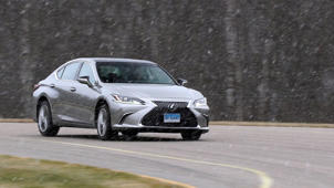a car parked on the side of a road: 2019 Lexus ES Road Test