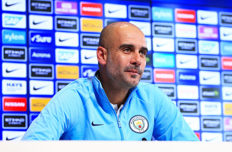 MANCHESTER, ENGLAND - DECEMBER 29: Pep Guardiola, Manager of Manchester City speaks during the press conference at Manchester City Football Academy on December 29, 2018 in Manchester, England. (Photo by Matt McNulty - Manchester City/Man City via Getty Images)