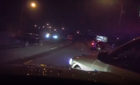 Lucky escape for cops as vehicle crashes into cruisers on interstate