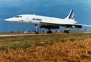 Concorde airliner of Air France on the ground.