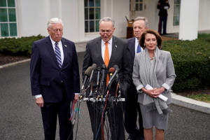 U.S. Senate Minority Leader Chuck Schumer and Speaker of the House Nancy Pelosi speak to the news media along with House Majority Leader Steny Hoyer (L) and Senate Minority Whip Dick Durbin (R-Rear) as they depart the West Wing after meeting with President Donald Trump about the U.S. government partial shutdown and his demand for a border wall in the Situation Room at the White House in Washington, U.S., January 9, 2019. REUTERS/Joshua Roberts