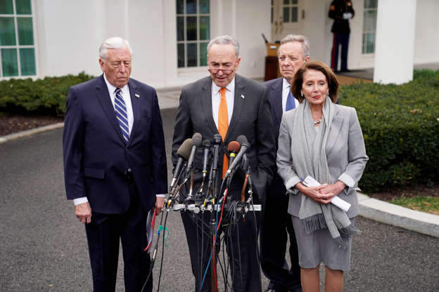 Slide 2 of 52: U.S. Senate Minority Leader Chuck Schumer and Speaker of the House Nancy Pelosi speak to the news media along with House Majority Leader Steny Hoyer (L) and Senate Minority Whip Dick Durbin (R-Rear) as they depart the West Wing after meeting with President Donald Trump about the U.S. government partial shutdown and his demand for a border wall in the Situation Room at the White House in Washington, U.S., January 9, 2019.