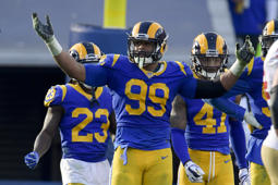Los Angeles Rams defensive end Aaron Donald celebrates during the first half in an NFL football game against the San Francisco 49ers Sunday, Dec. 30, 2018, in Los Angeles. (AP Photo/Mark J. Terrill)