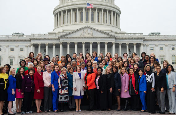 Slide 1 of 29: US Speaker of the House Nancy Pelosi (C) stands with all the female House Democratic members of the 116th Congress for a photo opportunity outside the US Capitol in Washington, DC, January 4, 2019. (Photo by SAUL LOEB / AFP)        (Photo credit should read SAUL LOEB/AFP/Getty Images)