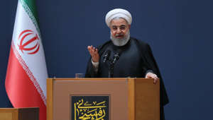 Iranian President Hassan Rouhani makes a speech during a ceremony marking the second death anniversary of former President of Iran Ali Akbar Hashemi Rafsanjani, in Tehran, Iran on January 10, 2019. (Photo by Presidency of Iran - Handout/Anadolu Agency/Getty Images)
