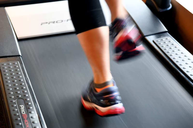 LAKEWOOD, CO - April 18: Danica Hemmann of Denver, is testing a running shoes for her training on the treadmill at Runners Roost Lakewood. April 18, 2018. (Photo by Hyoung Chang/The Denver Post via Getty Images)