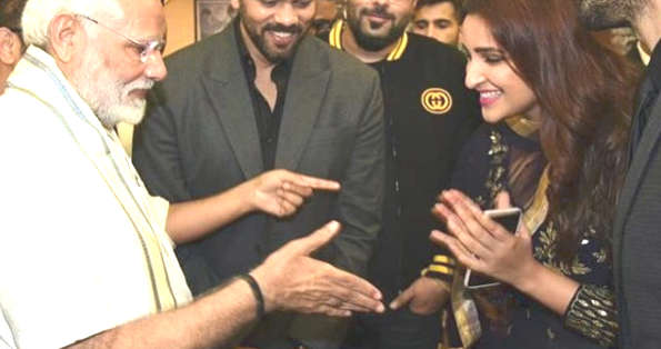 Image result for modi handshake to parineeti