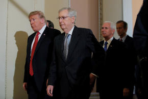 U.S. President Donald Trump departs with U.S. Senate Majority Leader Mitch McConnell and Vice President Mike Pence after addressing a closed Senate Republican policy lunch as a partial government shutdown enters its 19th day on Capitol Hill in Washington, U.S., January 9, 2019. REUTERS/Jim Young