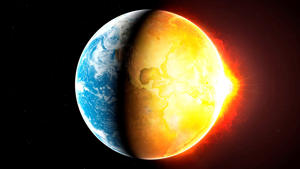 Illustration of the Earth heating up. This could represent the planet s fragility, and its vulnerability to the damages inflicted upon it by humans and other factors, including global warming.