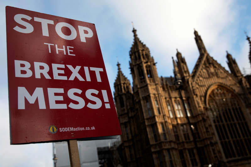 LONDON, ENGLAND - JANUARY 23: Anti Brexit placards outside the Houses of Parliament on January 23, 2019 in London, England. There are reports that MPs are proposing alternative plans to the Prime Ministers existing Brexit deal, including a possible extension to the exit date, currently scheduled for 29 March. (Photo by Dan Kitwood/Getty Images)