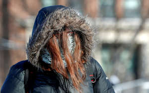 A student is dressed for subzero temperatures while walking to class at the University of Minnesota in Minneapolis, Minnesota, U.S., January 29, 2019.