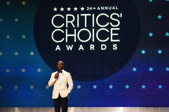 Slide 1 of 44: SANTA MONICA, CA - JANUARY 13:  Host Taye Diggs speaks onstage at the 24th annual Critics' Choice Awards at Barker Hangar on January 13, 2019 in Santa Monica, California.  (Photo by Kevin Mazur/Getty Images for The Critics' Choice Awards)