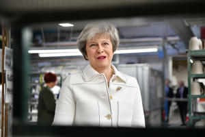 Prime Minister Theresa May visits the Portmeirion factory in Stoke-on-Trent today
