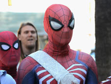 HOLLYWOOD, CA - DECEMBER 28:  Cosplayer Jason Ho, dressed as Spider-Man, gathers with others in honor of Stan Lee's 96th Birthday to Lee's star on the Hollywood Walk Of Fame on December 28, 2018 in Hollywood, California.  (Photo by Albert L. Ortega/Getty Images)