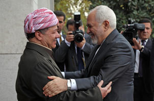 Kurdistan Democratic Party (KDP) Massud Barzani (L), welcomes Iranian Foreign Minister Mohammad Javad Zarif in Arbil, the capital of the Kurdish autonomous region in northern Iraq, on January 15, 2019. - Iraq has witnessed a revolving door of diplomatic visits since Trump made a surprise Christmas trip in December 2018. US Secretary of State Mike Pompeo made a surprise stop in Baghdad on his regional tour on January 9, followed by Iran's oil minister then top diplomat Mohammad Javad Zarif, who arrived on January 13. (Photo by SAFIN HAMED / AFP)        (Photo credit should read SAFIN HAMED/AFP/Getty Images)