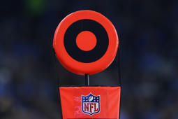 An NFL logo is shown during an NFL football game between the Detroit Lions and Los Angeles Rams in Detroit, Sunday, Dec. 2, 2018. (AP Photo/Paul Sancya)