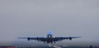 Crosswinds make it a rocky takeoff for airbus A380 at Manchester airport