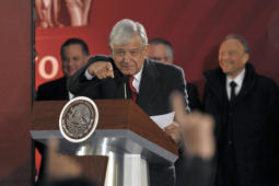 MEXICO CITY, MEXICO - JANUARY 14:  President of Mexico Andrés Manuel López Obrador points at a journalist during the morning press conference at National Palace on January 14, 2019 in Mexico City, Mexico. President Obrador addressed the fuel shortage and presented a plan. (Photo by Pedro Gonzalez Castillo/Getty Images)