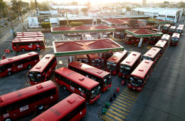 Buses queue at a Pemex gas station in Guadalajara, Jalisco State, Mexico, on January 13, 2019. - Earlier this week President Andres Manuel Lopez Obrador urged Mexicans not to panic as gasoline shortages spread across the country, caused by a crackdown on fuel theft that risks backfiring badly. The president said the shortages were triggered by his administration's decision to temporarily close some of state oil company Pemex's pipelines -- part of his bid to wipe out rampant fuel theft that cost the country an estimated $3 billion in 2017. (Photo by Ulises RUIZ / AFP)        (Photo credit should read ULISES RUIZ/AFP/Getty Images)