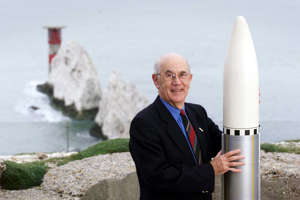 Isle of Wight rocket scientist Ray Wheeler with a scale model of the Black Arrow rocket built by his team at Saunders Roe (now GKN Aerospace) at Cowes on the island in 1971