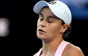 Ashleigh Barty of Australia reacts during the match against Petra Kvitova.