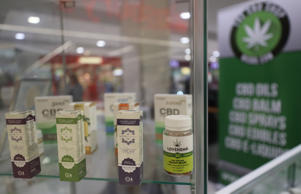 A stock image of CBD (cannabidiol) oil products on sale in Belfast. (Photo by Niall Carson/PA Images via Getty Images)