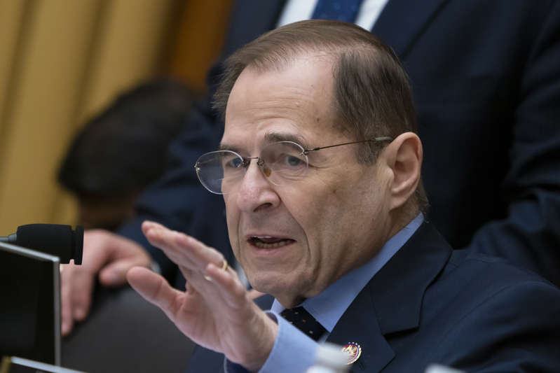FILE: In this Feb. 8, 2019, photo, House Judiciary Committee Chairman Jerrold Nadler, D-N.Y., gestures during questioning of acting Attorney General Matthew Whitaker on Capitol Hill in Washington. A key House committee has approved a bill to require background checks for all sales and transfers of firearms, a first by majority Democrats to tighten gun laws after eight years of Republican rule. (AP Photo/J. Scott Applewhite)